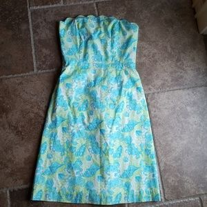 Lilly Pulitzer shells and crab strapless dress
